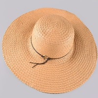 """This fashionable big brim hat features straw material and contrast with leatherette straps band with silver color metal """"O"""", and finish with inner adjustable strap for perfect fit. Pair our Side Lace Up Stripe Crop Top, Free People Denim Cut off and wrap a"""