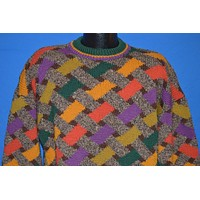 90s Criss Cross Weave Wool Knit Sweater Large
