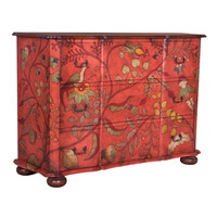 Red Tropical Birds Chest - hand painted