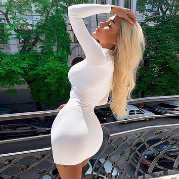 Fashion Turtleneck Solid Color Long Sleeve Bodycon Pack Hip Mini Dress