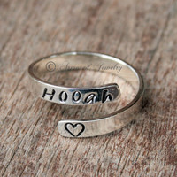 Sterling Silver Personalized Adjustable Wrap Ring - Army - Navy - Marines - Air Force - Military - Custom Name Ring