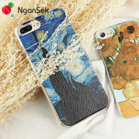 NganSek Phone Case For iPhone 6 6s 7 Plus Van Gogh Phone Case 4 4s 5 5s SE Slim Painting Back Case Starry Night Sunflowers Sower