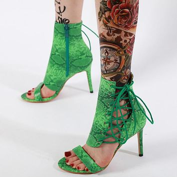 New gladiator sandals with serpentine strappy heels
