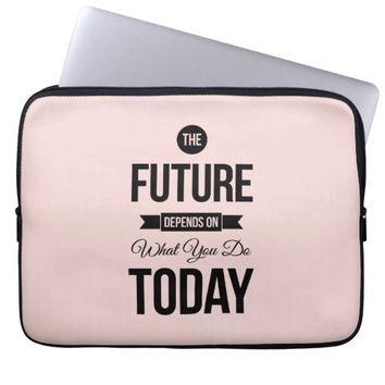 Pink Inspirational Quote The Future Laptop Computer Sleeves