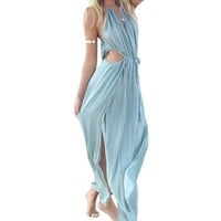 Summer Sexy Women Boho V-neck Sleeveless Beach Maxi Halter Sundress Long Dress