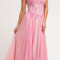 2014 Prom Dresses - Pink Beaded Lace & Chiffon Halter Dress