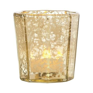 Vintage Mercury Glass Candle Holder (2.75-Inch, Patricia Design, Gold) - For Use with Tea Lights - For Home Decor, Parties, and Wedding Decorations