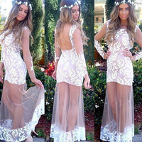Slim Stylish Sexy Ball Gown Lace Embroidery One Piece Dress [9344405380]