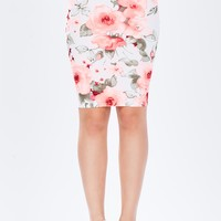 Neon Pop Floral Pencil Skirt