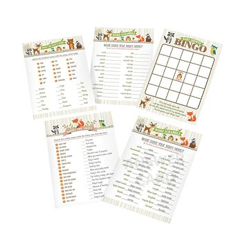 """Lillian Rose Woodland Baby Shower Game Cards, Neutral, 5"""" x 7"""""""