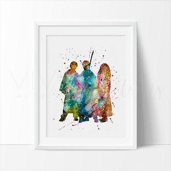 Harry Potter, Ronald Weasley & Hermione Granger 2 Watercolor Art Print