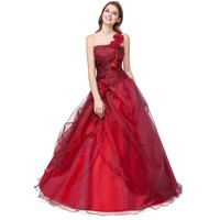 Red Quinceanera Dress Floral One Shoulder