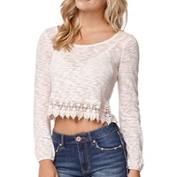 LA Hearts Crochet Trim Zip Back Top - Womens Tee