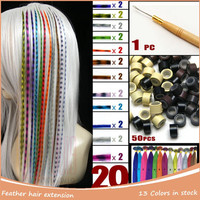 Natural I Tip Extension 20pcs Women Long Straight Grizzly Micro Loop Ring Feather Hair Extensions + 50pcs Beads + 1pc Hook