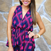 She's A City Chick Romper: Navy/Fuchsia | Hope's