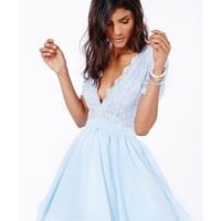 Missguided - Aleena Lace Plunge Neck Puffball Mini Dress In Baby Blue