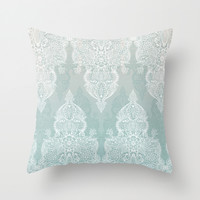 Lace & Shadows - soft sage grey & white Moroccan doodle Throw Pillow by Micklyn