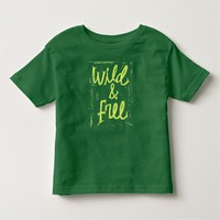 Wild and Free green Typography T-shirt
