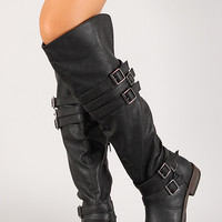 Six Buckled Strap Round Toe Thigh High Boot