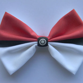 Pokemon Pokeball Inspired Classic Hair Bow or Clip On Bow Tie