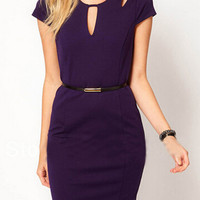 Purple Cut-Out Detailed Bodycon Dress with Waist Belt