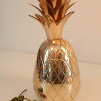 Brass Pineapple Trinket Dish/ Storage Dish/ Lidded Pineapple/ Pineapple container/ Candle Holder/ Hollywood Regency MCM/ Hospitality/ 5.25""