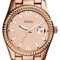 Women's Fossil 'Perfect Boyfriend' Mirrored Dial Bracelet Watch, 39mm