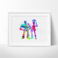 Buzz Lightyear and Woody Watercolor Art Print