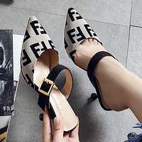 FENDI Hot Sale Women Pointed Half Slippers Sandals High Heels Shoes