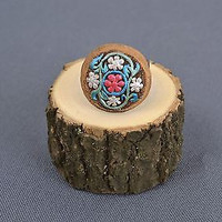 Handmade painted clay ring with open metal fittings jewelry fashion accessories