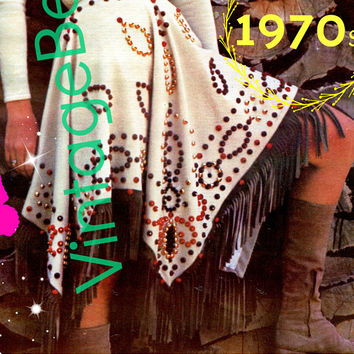 PDF PATTERN • Skirt SEWING Pattern • Sexy Poncho or Skirt • American Indian Squaw 1970s Vintage Princess of Poncho • Boho Beauty • Feminine