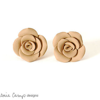 Tan Beige Rose Earrings on Sterling Silver Posts, Hand Formed Clay Roses, Taupe, Caramel Cafe Brown