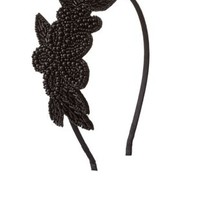 Beaded Floral Applique Headband by Charlotte Russe - Black