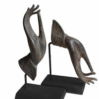 """Buddha Hand Statues, Teaching Gesture (Vitarka Mudra), Bronze Buddha hands Sculpture Mounted on Wood. Offering Blessings and Protection.11""""H"""