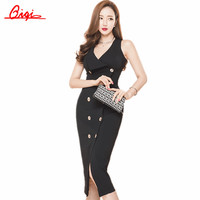 New Summer Women Party Bodycon Dresses Sleeveless Vestido OL Slim double-breasted V-neck Casual Clothing Slim Sexy Pencil Dress