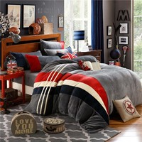 British Style Flannel bed linen set winter warm bedding sets/bedclothes Twin queen king size duvet cover sheets set