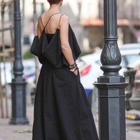 Designer dress, Sexy dress, Dresses for women, Linen dress women, Maxi dress, Summer dress, Long black dress, Sleeveless dress D25718