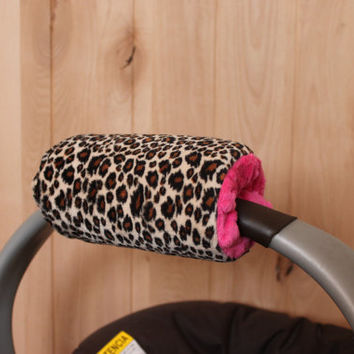 Infant Car Seat Padded Handle Cover- Cheetah Minky