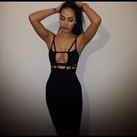 Sexy Backless Bandage Off Shoulder Hollow Mini Dress