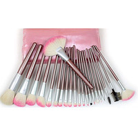 22Pcs Pink Wool Makeup Brush Sets [9647073551]
