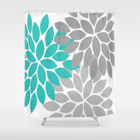 Bold Colorful Turquoise Gray Dahlia Flower Burst Petals Shower Curtain by TRM Design
