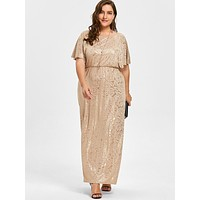 Beach Playing Time Apricot Plus Size Dress Cape Sleeve Hot Sliver