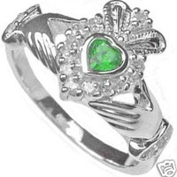 Ladies Emerald Sterling Silver .925 Irish Claddagh Ring