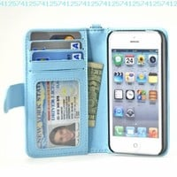 Navor iPhone Life Protective Deluxe Book Style Folio Wallet Leather Case for iPhone 5 & iPhone 5S ( Light Blue ):Amazon:Cell Phones & Accessories