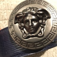Versace Belt Medusa Blue Leather Size 100-40 100% Authentic