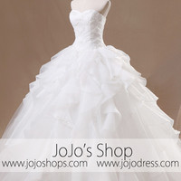 Strapless Ball Gown Princess Ruffle Wedding Dress | G1092