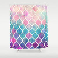 Rainbow Pastel Watercolor Moroccan Pattern Shower Curtain by micklyn