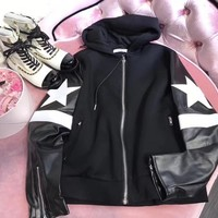 """""""Givenchy"""" Women Fashion Multicolor Stitching Leather Five-pointed Star Long Sleeve Zip Cardigan Hooded Coat"""