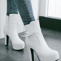 New Women White Round Toe Chunky Bow Casual Ankle Boots