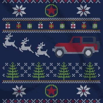All Things Jeep - Jeep Christmas Crewneck Sweatshirt, Navy